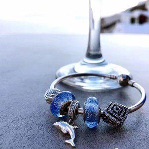 🐯Pandora Jewelry 'Blue Dolphin' Bracelet